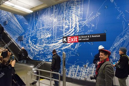 Stock Photo of 96th Street entrance, artwork by Sarah Sze. Passenger service is scheduled to begin on the line New Year's Day.