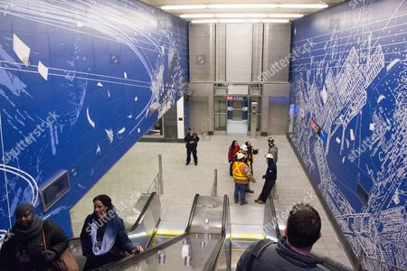 Stock Picture of 97th Street entrance, artwork by Sarah Sze. Passenger service is scheduled to begin on the line New Year's Day.