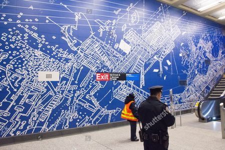 97th Street entrance, artwork by Sarah Sze. Passenger service is scheduled to begin on the line New Year's Day.