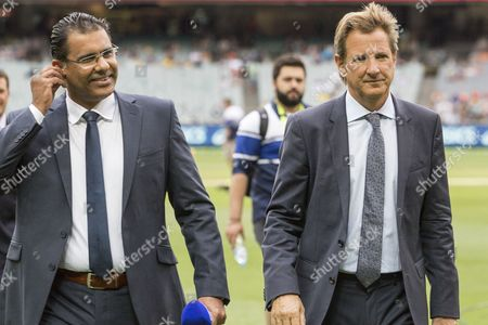 Commentators Waqar Younis and Mark Nicholas during day 3 of the 2nd test between Australia Vs Pakistan