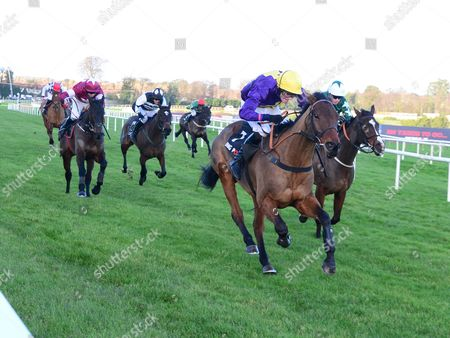 Stock Image of LEOPARDSTOWN LAKE TAKAPUNA and David Mullins win the Bet Through The Racing Post App Handicap Chase for trainer Jim Culloty. HEALY RACING
