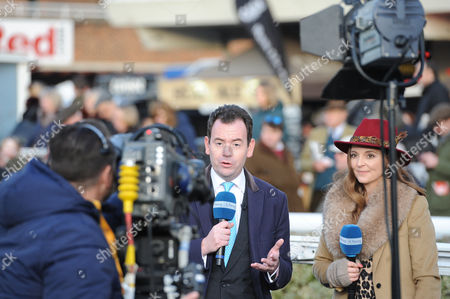 Kempton Park Racecourse. Nick Luck and Gina Harding on their final outside broadcast as Channel 4 comes to the end of its coverage of racing before ITV take over in the New Year.