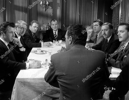 """'The League of Gentlemen'   Film  The """"League"""" Sit Down at Their First Meeting Together with John Hyde (Jack Hawkins) with His Back to Camera...And From Left to Right: Porthill (Bryan Forbes), Mycroft (Roger Livesey), Edward Lexy (Richard Attenborough), Race (Nigel Patrick), Stevens (Kieron Morre), Weaver (Norman Bird and Rutland Smith (Terence Alexander)."""