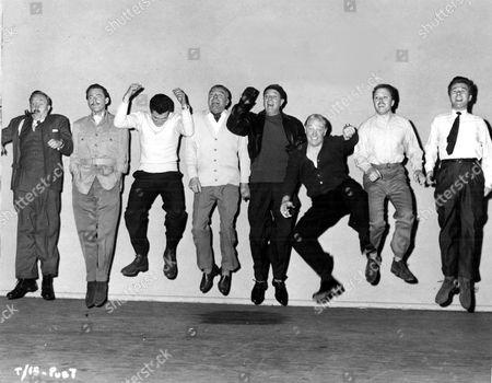 'The League of Gentlemen'   Film Behind the scenes - L-R: Norman Bird, Terence Alexander, Kieron Moore, Jack Hawkins, Nigel Patrick, Roger Livesey, Richard Attenborough and Bryan Forbes.