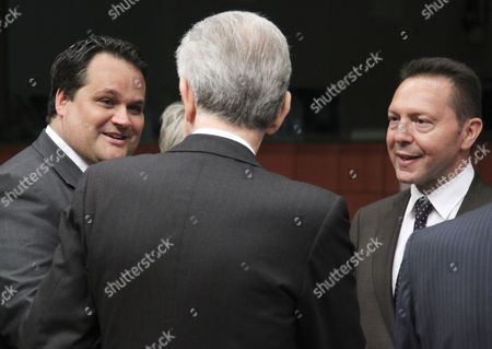 (l-r) Dutch Finance Minister Jan Kees De Jager Italian Prime Minister Mario Monti and Greek Finance Minister Yiannis Stournaras Talk Together Before the Start of a Euro Group Finance Ministers Council at the European Council Headquarters in Brussels Belgium 09 July 2012 Eurozone Finance Ministers Were Set For Fresh Crisis Talks Amid Fears That a Recent Summit Deal Meant to Help Spain and Italy May Be Unravelling Fueling Market Jitters Over Those Two Countries Belgium Brussels