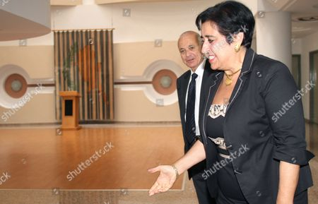 Cypriot Minister of Foreign Affairs Erato Kozakou-marcoullis (r) Walks with the Secretary General of the Arab League Nabil El Araby (l) During a Meeting at the Foreign Ministry in Nicosia Cyprus 18 June 2012 Cyprus Nicosia