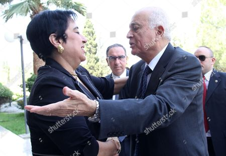 Cypriot Minister of Foreign Affairs Erato Kozakou-marcoullis (l) Shake Hand with the Secretary General of the Arab League Nabil El Araby (r) During a Meeting at the Foreign Ministry in Nicosia Cyprus 18 June 2012 Cyprus Nicosia