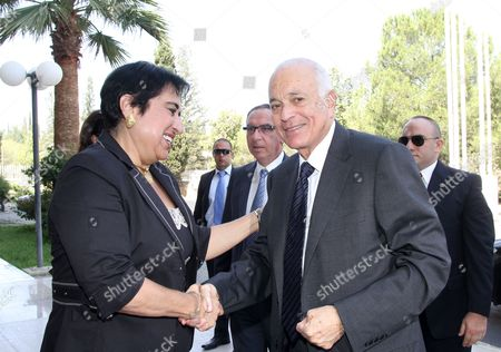 Cypriot Minister of Foreign Affairs Erato Kozakou-marcoullis (l) Welcomes the Secretary General of the Arab League Nabil El Araby (r) For a Meeting in Nicosia Cyprus 18 June 2012 the Situation in Syria was Expected to Have Dominated the Talks of the Two Politicians in Nicosia Cyprus Nicosia