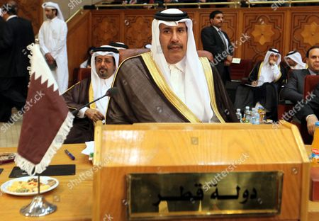 Qatari Prime Minister and Foreign Minister Sheikh Hamad Bin Jassim Bin Jabr Al-thani Attends the Arab League Foreign Ministers Emergency Meeting Held at the League's Headquarters in Cairo Egypt 26 April 2012 According to Media Reports the Meeting Headed by Kuwaiti Foreign Minister Khaled Al-sabah Would Assess Damascus' Compliance with the Plan Proposed by Un-arab League Envoy Kofi Annan to End More Than a Year of Bloodshed in the Country Arab League Foreign Ministers Also Discuss Tensions Between Sudan and South Sudan Following Recent Fighting Egypt Cairo