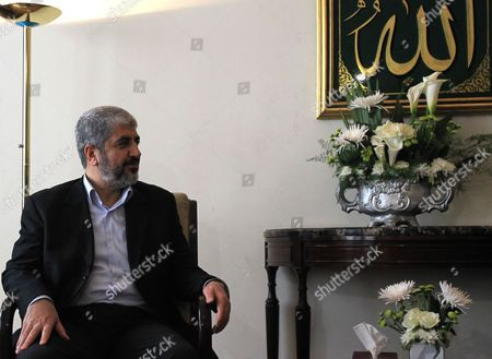 Palestinian Hamas Political Bureau Chief Khaled Meshaal Seen During His Meeting with Arab League Secretary General Nabil Alaraby (not Pictured) at the League's Headquarters in Cairo Egypt 29 April 2012 Meshaal Arrived in Cairo Some Days Earlier and According to Media Reports Discussed with Egyptian Officials on 28 April the Issue of Hunger Striking Palestinian Prisoners Held in Israeli Jails As Well As the Palestinian Reconciliation Egypt Cairo