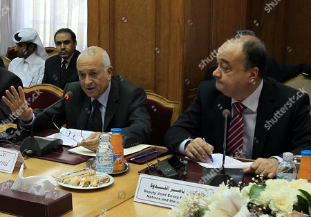 Arab League Secretary General Nabil Alaraby (l) Gestures As Deputy to Un-arab League Envoy to Syria Kofi Anan Nasser Al-qudwa (r) Looks on During a Meeting Gathering Eu Un Arab League and Some Countries Invited Representatives at the League's Headquarters in Cairo Egypt 16 May 2012 According to the Arab League a Meeting of the Arab League Un and Eu Representatives with Members of the Syrian Opposition Which was Due to Take Place on 16 May Did Gather in Cairo But in Absence of the Syrian Opposition Member who Asked For Their Presence to Be Postponed to a Later Date Egypt Cairo