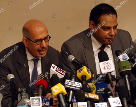 Egyptian Nobel Peace Prize Winner and Former Head of the International Atomic Energy Agency Mohamed Elbaradei (l) Addresses a Press Conference with Novelist Alaa Al-aswany (r) and Other Personalities at the Egyptian Press Syndicate in Cairo Egypt 28 April 2012 Elbaradei and a Group of Pro-revolution Personalities Announced Officially on 28 April the Launch of the New 'Adoustour' Political Party Aiming at Gathering the Egyptian Revolutionaries Egypt Cairo