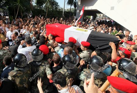 Egyptian Military Personnel Carry the Coffin of Former Intelligence Chief and Vice-president of Former Egyptian President Hosni Mubarak Omar Suleiman During His Funeral in Cairo Egypt on 21 July 2012 Souleiman Has Died in a Us Hospital on 19 July 2012 Egypt Cairo