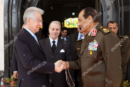 Head of the Egyptian Ruling Military Council Mohamed Hussein Tantawi (r) Greets Italian Prime Minister Mario Monti (l) Following Their Meeting in Cairo Egypt 10 April 2012 Monti Arrived in Egypt on 09 April on a Two-day Official Visit Egypt Cairo