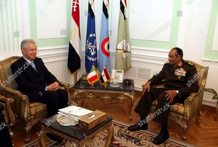Head of the Egyptian Ruling Military Council Mohamed Hussein Tantawi (r) Meets with Italian Prime Minister Mario Monti (l) in Cairo Egypt 10 April 2012 Monti Arrived in Egypt on 09 April on a Two-day Official Visit Egypt Cairo