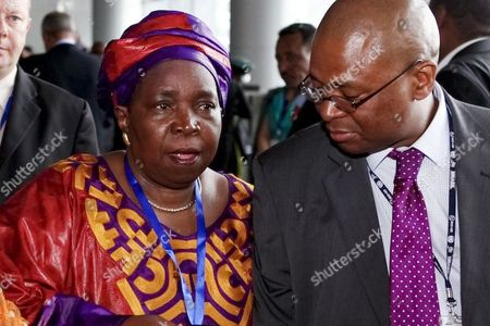 Nkosazana Dlamini-zuma of South Africa (l) Leaves the Room After Giving a Press Conference During the 19th African Union Summit in Addis Ababa Ethiopia 15 July 2012 South Africa's Home Affairs Minister Nkosazana Dlamini-zuma is Challenging Incumbent Jean Ping of Gabon For the Bloc's Top Job After Both of Them Failed to Win the Required Two-thirds Majority of the Vote at the Last Summit if the Election Fails Again This Time It Could Leave Ping in Position Until the Next Summit in January 2013 Ethiopia Addis Ababa