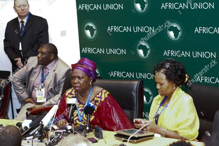 Stock Photo of Nkosazana Dlamini-zuma of South Africa (c) Speaks at a Press Conference During the 19th African Union Summit in Addis Ababa Ethiopia 15 July 2012 South Africa's Home Affairs Minister Nkosazana Dlamini-zuma is Challenging Incumbent Jean Ping of Gabon For the Bloc's Top Job After Both of Them Failed to Win the Required Two-thirds Majority of the Vote at the Last Summit if the Election Fails Again This Time It Could Leave Ping in Position Until the Next Summit in January 2013 Ethiopia Addis Ababa