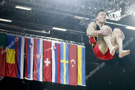German Philipp Boy Competes on the Vault During the Seniors Apparatus Qualification of the Men Artistic Gymnastics European Championships in Montpellier France 24 May 2012 France Montpellier