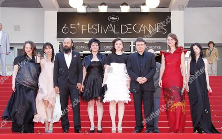 Romanian Director Cristian Mungiu (3-r) Arrives with Cast Members Cosmina Stratan (4-r) Cristina Flutur (2-r) Valeriu Andriuta (3-l) and Guests For the Screening of 'Dupa Dealuri' (beyond the Hills) During the 65th Cannes Film Festival in Cannes France 19 May 2012 the Movie is Presented in the Official Competition of the Festival Which Runs From 16 to 27 May France Cannes