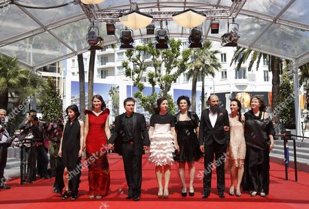 Romanian Director Cristian Mungiu (3-l) Arrives with Cast Members Cosmina Stratan (4-l) Cristina Flutur (2-l) Valeriu Andriuta (3-r) and Guests For the Screening of 'Dupa Dealuri' (beyond the Hills) During the 65th Cannes Film Festival in Cannes France 19 May 2012 the Movie is Presented in the Official Competition of the Festival Which Runs From 16 to 27 May France Cannes