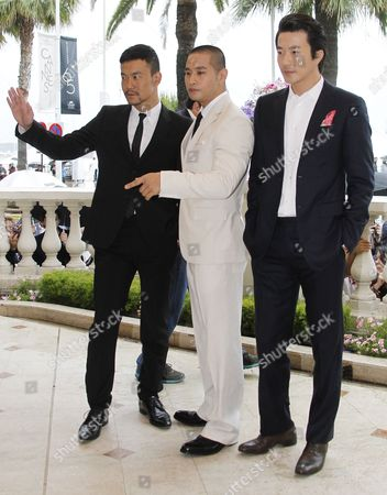 Stock Image of (l-r) Chinese Actor Liao Fan Korean Actor Steve Yoo and Korean Actor Kwone Sang Woo Pose During a Photocall For 'Chinese Zodiac' at the 65th Cannes Film Festival in Cannes France 18 May 2012 the Festival Runs From 16 to 27 May France Cannes