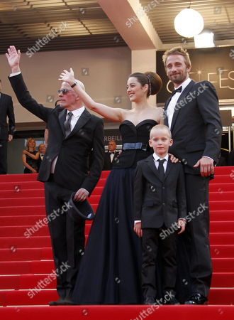 (l-r) French Director Jacques Audiard French Actress Marion Cotillard Belgian Actor Matthias Schoenaerts and Young Actor Armand Verdure Arrive For the Screening of 'De Rouille Et D'os' (rust and Bone) During the 65th Cannes Film Festival in Cannes France 17 May 2012 the Movie is Presented in the Official Competition of the Festival Which Runs From 16 to 27 May France Cannes