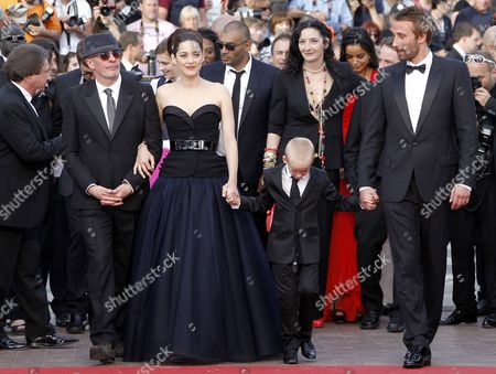 (l-r) French Director Jacques Audiard French Actress Marion Cotillard and Belgian Actor Matthias Schoenaerts and Young Actor Armand Verdure Arrive For the Screening of 'De Rouille Et D'os' (rust and Bone) During the 65th Cannes Film Festival in Cannes France 17 May 2012 the Movie is Presented in the Official Competition of the Festival Which Runs From 16 to 27 May France Cannes