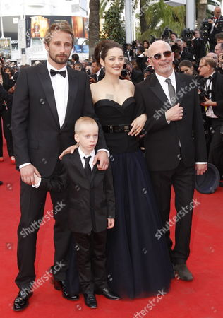 (l-r) Belgian Actor Matthias Schoenaerts and Young Actor Armand Verdure French Actress Marion Cotillard and French Director Jacques Audiard Arrive For the Screening of 'De Rouille Et D'os' (rust and Bone) During the 65th Cannes Film Festival in Cannes France 17 May 2012 the Movie is Presented in the Official Competition of the Festival Which Runs From 16 to 27 May France Cannes