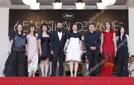 Romanian Director Cristian Mungiu (3-r) Arrives with Cast Members Cosmina Stratan (4-r) Cristina Flutur (2-r) Valeriu Andriuta (4-l) and Guests For the Screening of 'Dupa Dealuri' (beyond the Hills) During the 65th Cannes Film Festival in Cannes France 19 May 2012 the Movie is Presented in the Official Competition of the Festival Which Runs From 16 to 27 May France Cannes
