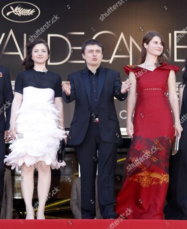 Romanian Director Cristian Mungiu (c) Arrives with Cast Members Cosmina Stratan (l) and Cristina Flutur (r) For the Screening of 'Dupa Dealuri' (beyond the Hills) During the 65th Cannes Film Festival in Cannes France 19 May 2012 the Movie is Presented in the Official Competition of the Festival Which Runs From 16 to 27 May France Cannes