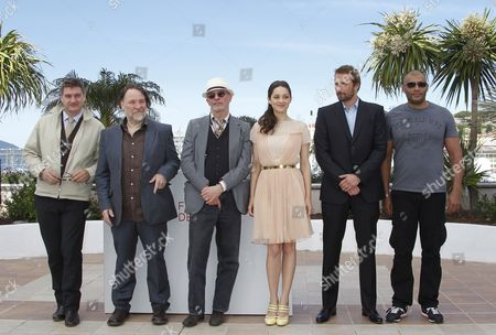 (l-r) French Screenwriter Thomas Bidegain Belgian Actor Bouli Lanners French Director Jacques Audiard French Actress Marion Cotillard Belgian Actor Matthias Schoenaerts and Actor Jean-michel Correia Pose During the Photocall For 'De Rouille Et D'os' (rust and Bone) at the 65th Cannes Film Festival in Cannes France 17 May 2012 the Movie is Presented in the Official Competition of the Festival Which Runs From 16 to 27 May France Cannes