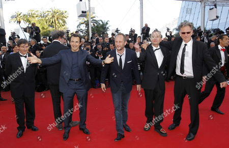Stock Photo of (l-r) French Producer Jean-pierre Guerin French Director Gustave Kervern French Actor Albert Dupontel Belgian Actor Benoit Poelvoorde French Singer Didier Wampas and French Director Benoit Delepine Arrive For the Screening of 'Killing Them Softly' During the 65th Cannes Film Festival in Cannes France 22 May 2012 the Movie is Presented in the Official Competition of the Festival Which Runs From 16 to 27 May France Cannes