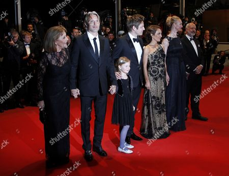 (l-r) Danish Actress Susse Wold Danish Actor Mads Mikkelsen Danish Director Thomas Vinterberg Swedish Actress Alexandra Rapaport Producers Producer Sisse Graum Jorgensen and Morten Kaufman Arrive For the Screening of 'Jagten' (the Hunt) During the 65th Cannes Film Festival in Cannes France 20 May 2012 the Movie is Presented in the Official Competition of the Festival Which Runs From 16 to 27 May France Cannes
