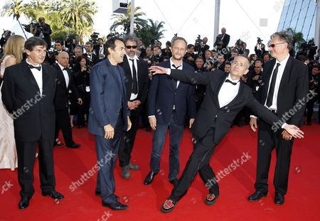 Stock Picture of (l-r) French Producer Jean-pierre Guerin French Actor Albert Dupontel French Director Gustave Kervern Belgian Actor Benoit Poelvoorde French Singer Didier Wampas and French Director Benoit Delepine Arrive For the Screening of 'Killing Them Softly' During the 65th Cannes Film Festival in Cannes France 22 May 2012 the Movie is Presented in the Official Competition of the Festival Which Runs From 16 to 27 May France Cannes