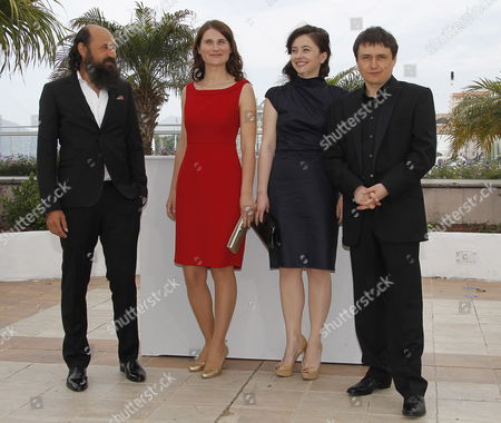 (l-r) Actor Valeriu Andriuta Actress Cristina Flutur Actress Cosmina Stratan and Romanian Director Cristian Mungiu Pose During the Photocall For 'Dupa Dealuri' (beyond the Hills) at the 65th Cannes Film Festival in Cannes France 19 May 2012 the Movie is Presented in the Official Competition of the Festival Which Runs From 16 to 27 May France Cannes