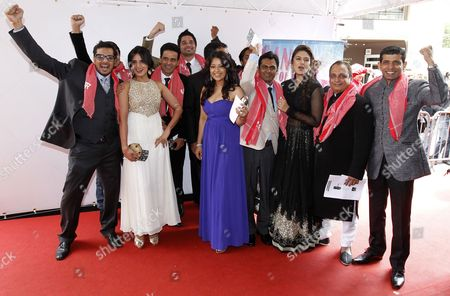Stock Photo of Indian Actresses Richa Chadda (2-l) Reema Sen (c) Huma Quereshi (3-r) and Cast Members Pose During a Photocall For 'Gangs of Wasseypur' During the 65th Cannes Film Festival in Cannes France 22 May 2012 the Festival Runs From 16 to 27 May France Cannes