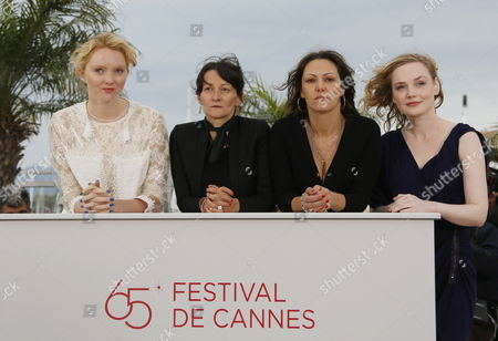 (l-r) British Model and Actress Lily Cole French Director Sylvie Verheyde French Actress Karole Rocher and French Actress Julie Judd Pose During the Photocall For 'Confession of a Child of the Century' at the 65th Cannes Film Festival in Cannes France 20 May 2012 the Movie is Presented in the 'Un Certain Regard' Section of the Festival Which Runs From 16 to 27 May France Cannes