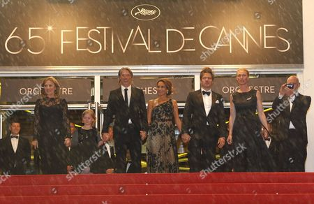 Danish Actress Susse Wold (l) Danish Actor Mads Mikkelsen (3-l) Swedish Actress Alexandra Rapaport (c) Danish Director Thomas Vinterberg (3-r) Producers Producer Sisse Graum Jorgensen (2-r) and Morten Kaufman (r) Arrive For the Screening of 'Jagten' (the Hunt) During the 65th Cannes Film Festival in Cannes France 20 May 2012 the Movie is Presented in the Official Competition of the Festival Which Runs From 16 to 27 May France Cannes