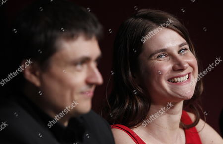 Romanian Director Cristian Mungiu (l) and Actress Cristina Flutur (r) Attend the Press Conference For 'Dupa Dealuri' (beyond the Hills) During the 65th Cannes Film Festival in Cannes France 19 May 2012 the Movie is Presented in the Official Competition of the Festival Which Runs From 16 to 27 May France Cannes