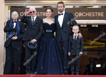 (l-r) President of the Festival Gilles Jacob Welcomes French Director Jacques Audiard French Actress Marion Cotillard and Belgian Actor Matthias Schoenaerts and Young Actor Armand Verdure For the Screening of 'De Rouille Et D'os' (rust and Bone) During the 65th Cannes Film Festival in Cannes France 17 May 2012 the Movie is Presented in the Official Competition of the Festival Which Runs From 16 to 27 May France Cannes