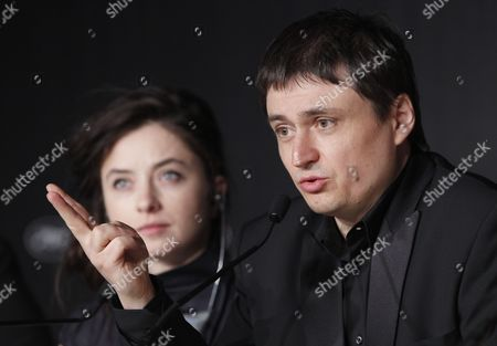 Romanian Director Cristian Mungiu (r) and Actress Cosmina Stratan (l) Attend the Press Conference For 'Dupa Dealuri' (beyond the Hills) During the 65th Cannes Film Festival in Cannes France 19 May 2012 the Movie is Presented in the Official Competition of the Festival Which Runs From 16 to 27 May France Cannes