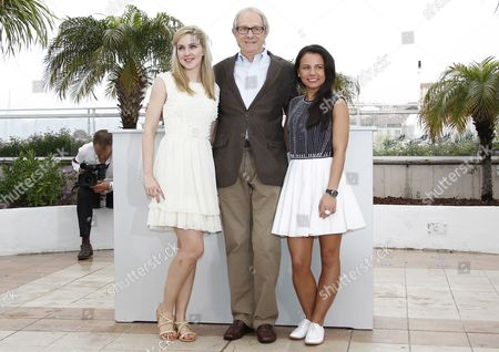 (l-r) Actress Siobhan Reilly British Director Ken Loach and Actress Jasmin Riggins Pose During the Photocall For 'The Angel's Share' at the 65th Cannes Film Festival in Cannes France 22 May 2012 the Movie is Presented in the Official Competition of the Festival Which Runs From 16 to 27 May France Cannes