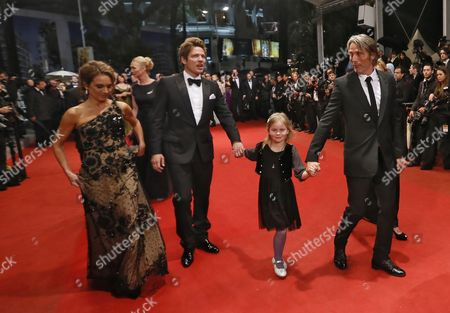 Swedish Actress Alexandra Rapaport (l) Danish Director Thomas Vinterberg (2-l) Danish Actor Mads Mikkelsen (r) and an Unidentified Girl Arrive For the Screening of 'Jagten' (the Hunt) During the 65th Cannes Film Festival in Cannes France 20 May 2012 the Movie is Presented in the Official Competition of the Festival Which Runs From 16 to 27 May France Cannes