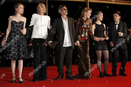 (l-r) French Actress Elise Lhomeau French Actress Edith Scob French-born Director Leos Carax Australian Actress Kylie Minogue French Actress Jeanne Disson and French Actor Denis Lavant Arrive For the Screening of 'Holy Motors' During the 65th Cannes Film Festival in Cannes France 23 May 2012 the Movie is Presented in the Official Competition of the Festival Which Runs From 16 to 27 May France Cannes