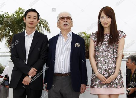 (l-r) Japanese Actor Ryo Kase Japanese Actor Tadashi Okuno and Japanese Actress Rin Takanashi Pose During the Photocall For 'Like Someone in Love' at the 65th Cannes Film Festival in Cannes France 21 May 2012 the Movie is Presented in the Official Competition of the Festival Which Runs From 16 to 27 May France Cannes