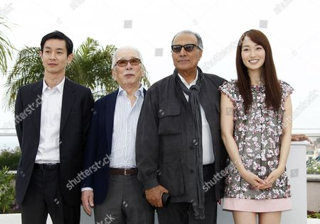 (l-r) Japanese Actor Ryo Kase Japanese Actor Tadashi Okuno Iranian Director Abbas Kiarostami and Japanese Actress Rin Takanashi Pose During the Photocall For 'Like Someone in Love' at the 65th Cannes Film Festival in Cannes France 21 May 2012 the Movie is Presented in the Official Competition of the Festival Which Runs From 16 to 27 May France Cannes