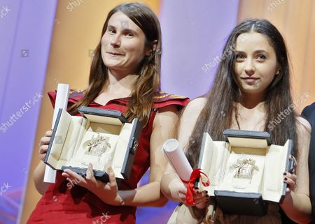 Actresses Cosmina Stratan (r) and Valeriu Andriuta (l) Receive the Best Performance by an Actress Awards For 'Dupa Dealuri' (beyond the Hills) During the Closing Award Ceremony of the 65th Cannes Film Festival in Cannes France 27 May 2012 the Award Ceremony is Followed by the Screening of 'Therese Desqueyroux' Presented out of Competition France Cannes