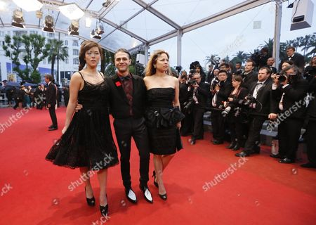 (l-r) French Actress Mylene Jampanoi Canadian Director Xavier Dolan and Actress Suzanne Clement Arrive For the Screening of 'Amour' (love) During the 65th Cannes Film Festival in Cannes France 20 May 2012 the Movie is Presented in the Official Competition of the Festival Which Runs From 16 to 27 May France Cannes