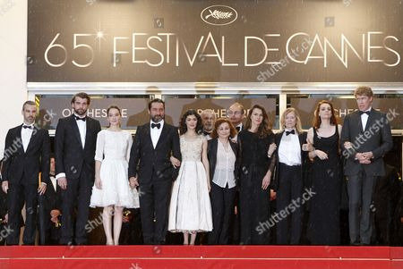 Stock Image of French Actress Catherine Arditi (5-r) French Actress Audrey Tautou (5-l) French Actor Gilles Lellouche (4-l) French Actress Anais Demoustier (3-l) French Actor Stanley Weber (2-l) French Culture Minister Aurelie Fillippetti (4-r) Annie Miller (3-r) Wife of Late French Film Director Claude Miller Their Son Nathan Miller (r) and Guests Arrive For the Screening of 'Therese Desqueyroux' and the Closing Award Ceremony of the 65th Cannes Film Festival in Cannes France 27 May 2012 the Screening of the Movie Presented out of Competition Closes the Festival France Cannes