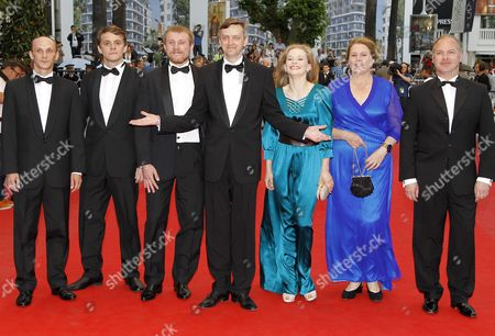 Stock Picture of (l-r) Actors Sergei Kolesov Vlad Abashin Vladimir Svirski Russian Director Sergei Loznitsa Russian Actresses Yulia Peresild Nadezhda Markina and Guest Arrive For the Screening of 'V Tumane' (in the Fog) During the 65th Cannes Film Festival in Cannes France 25 May 2012 the Movie is Presented in the Official Competition of the Festival Which Runs From 16 to 27 May France Cannes